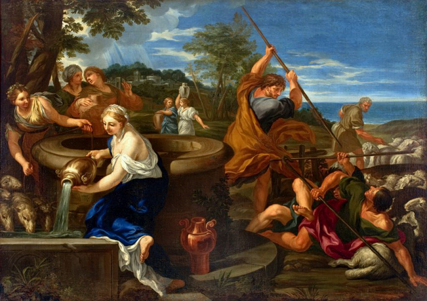 Moses Defending the Daughters of Jethro 1660-1689. Painting by Ciro Ferri-1400
