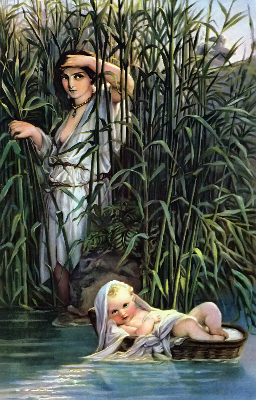Moses in the Bulrushes 19th Century painting by Hippolyte Delaroche