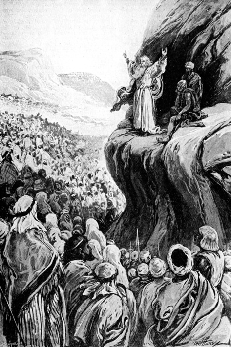 Moses speaks to Israel by Paul Hardy