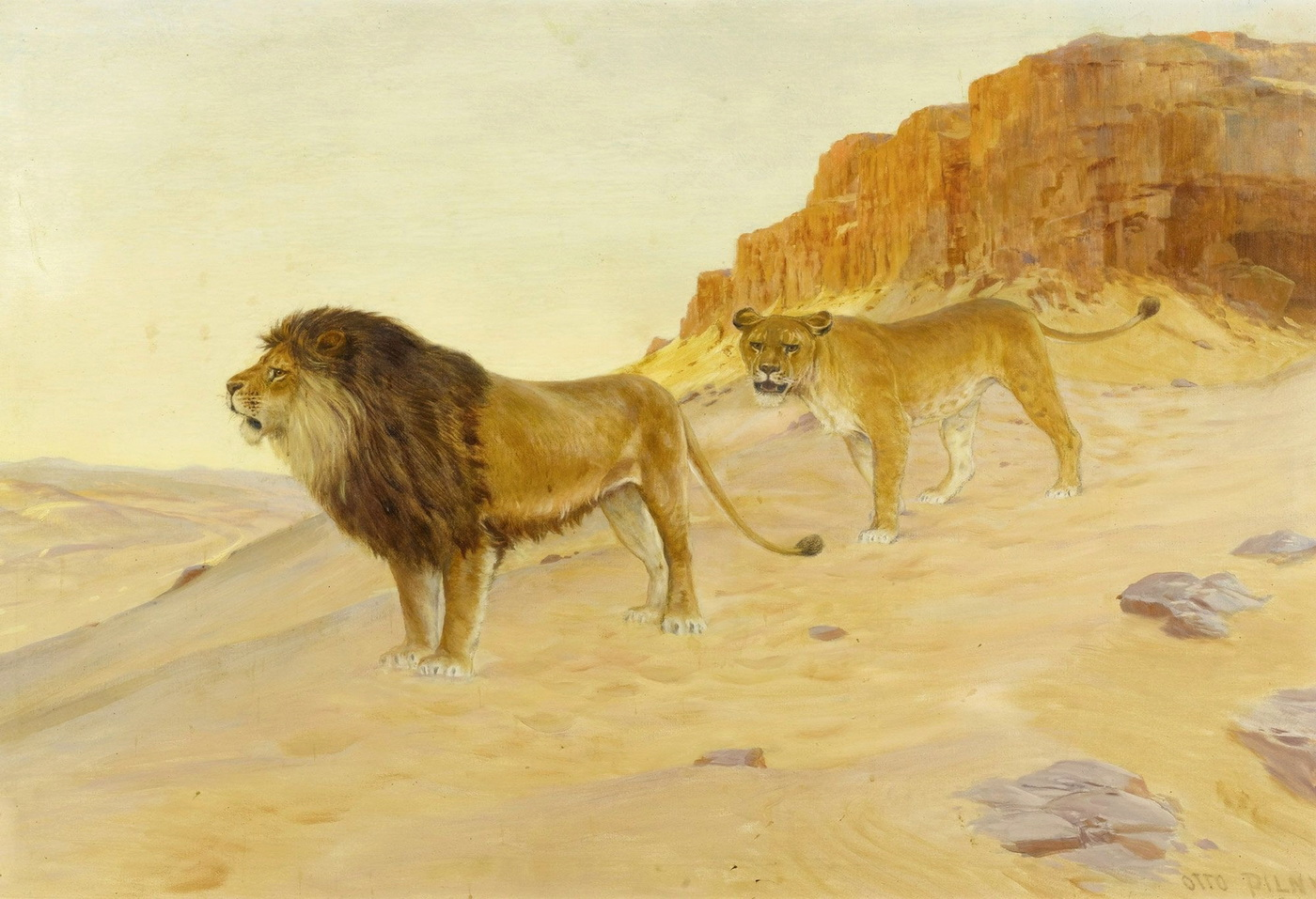 Otto Pilny 1866-1936 1926 Pair of lions in the desert before red cliffs-1400