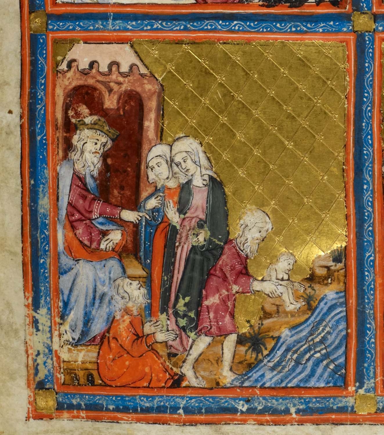 Pharaoh and the Midwives early 14th century Golden Haggadah Catalonia
