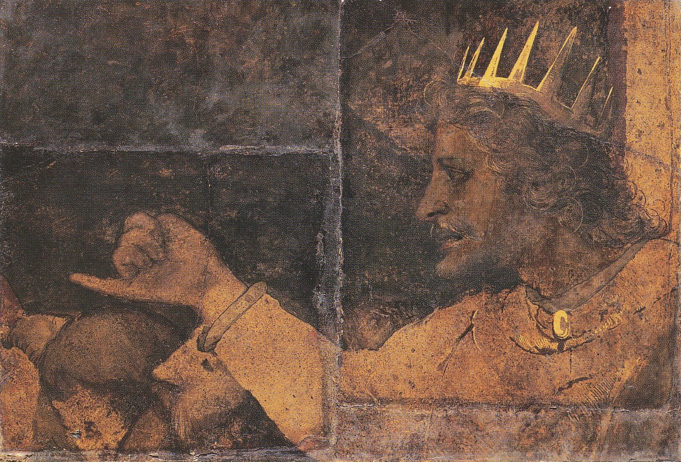 Rehoboam. Fragment of Wall Painting from Basel Town Hall Hans Holbein the You
