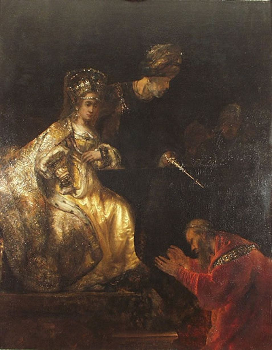 Rembrandt - Haman Begging Esther for Mercy