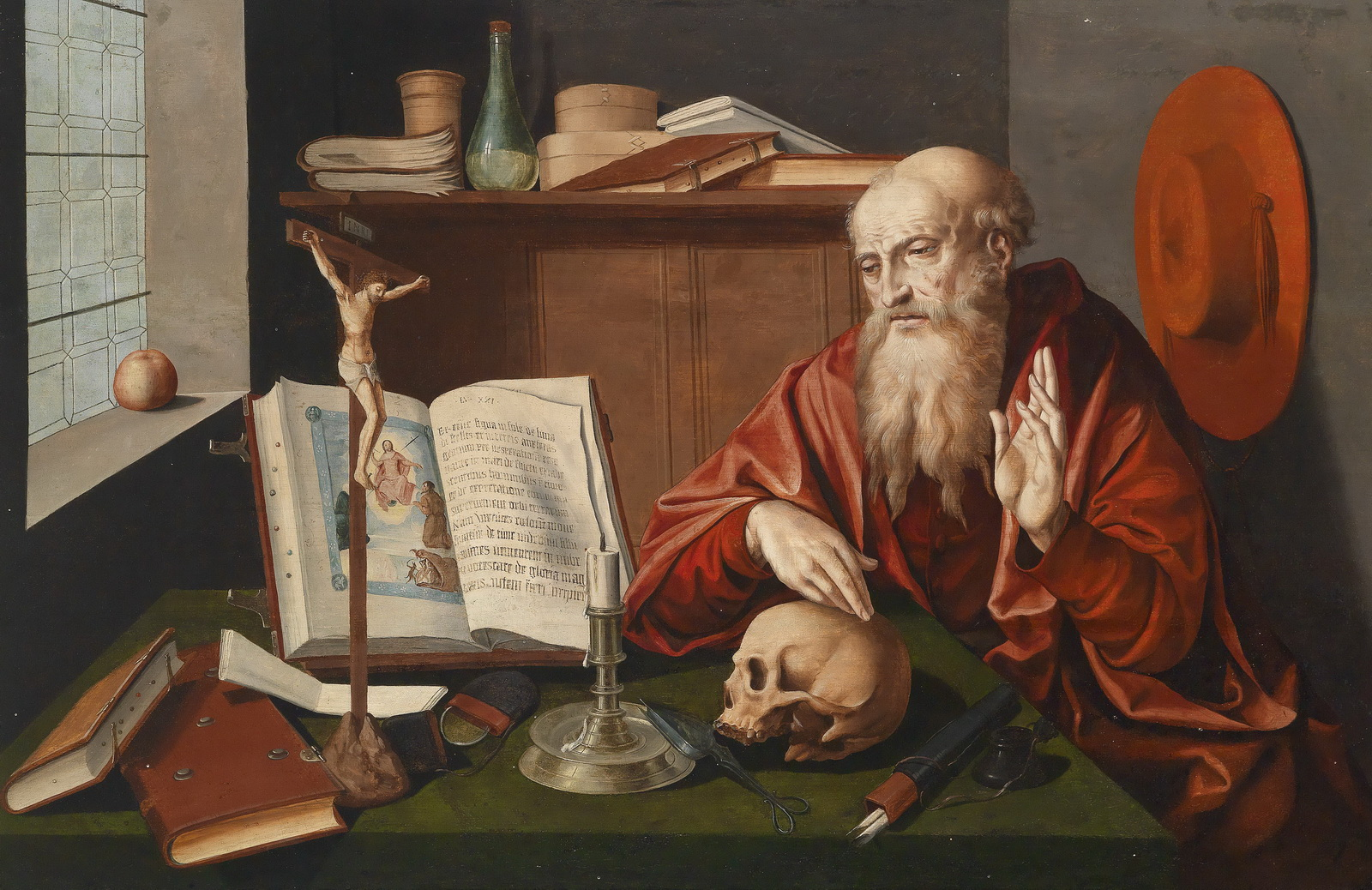 Reymerswale workshop Saint Jerome in his study-1600