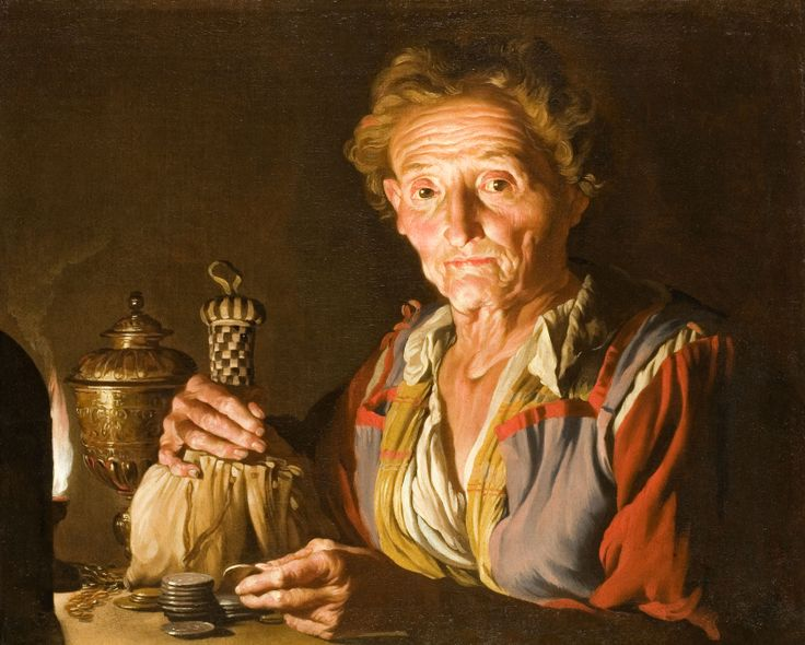 Stom-A Woman Counting Coins by the Light of an Oil Lamp