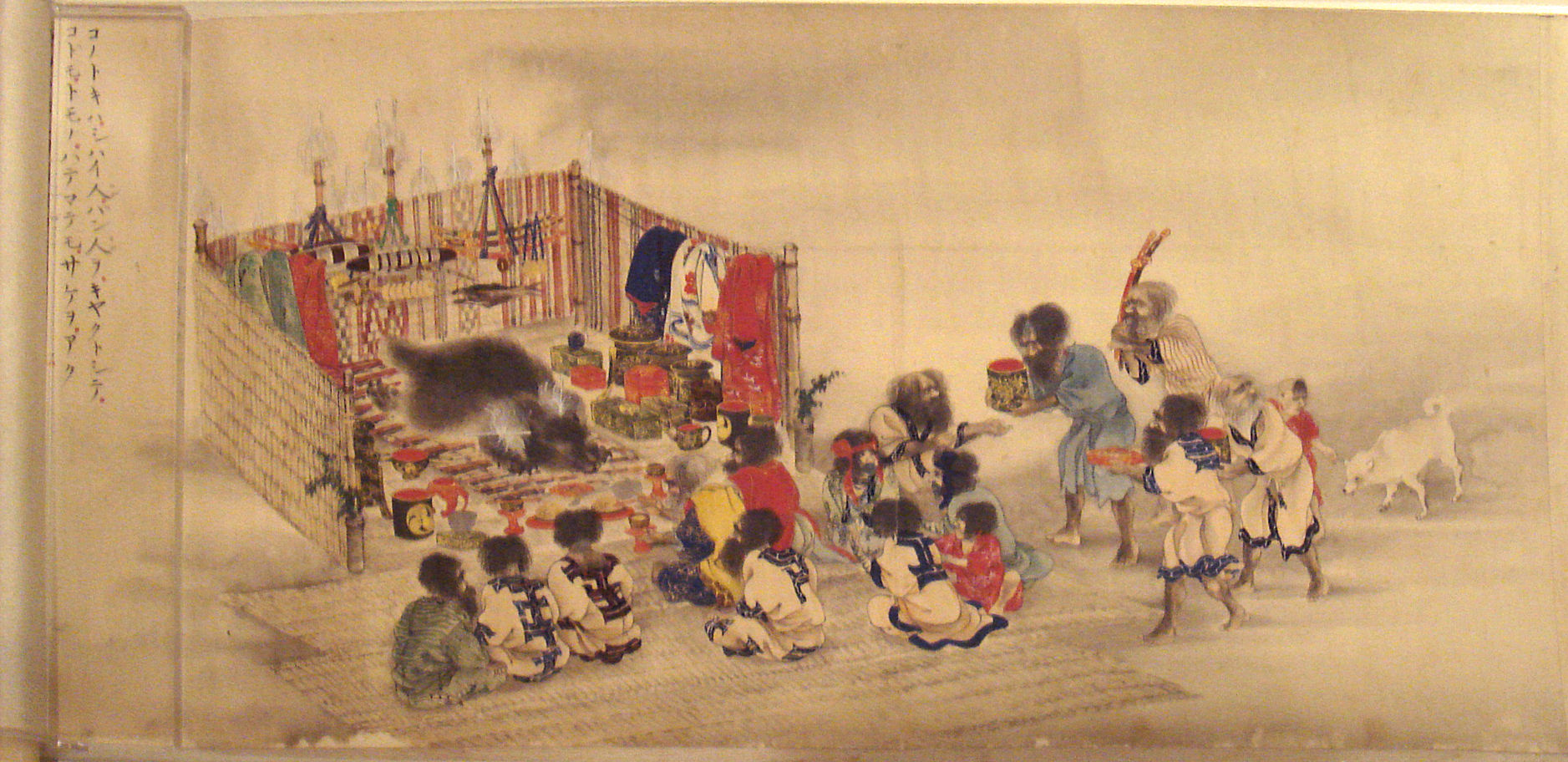 The Ainu Iomante ceremony bear sending. Japanese scroll painting circa 1870