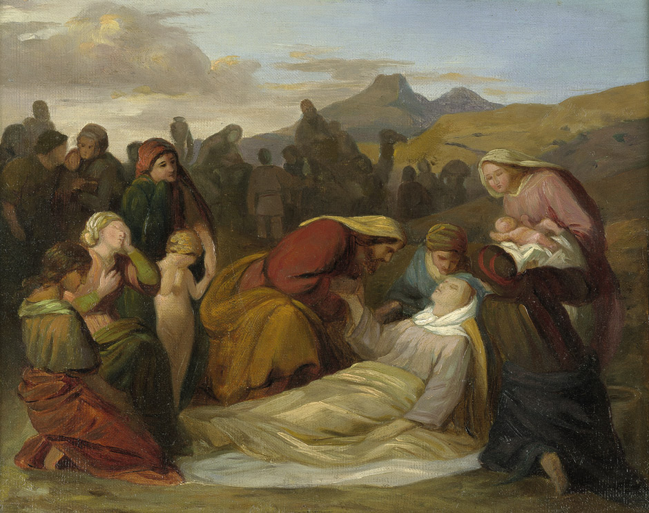 The Death of Rachel painting circa 1847 by Gustav Ferdinand Metz
