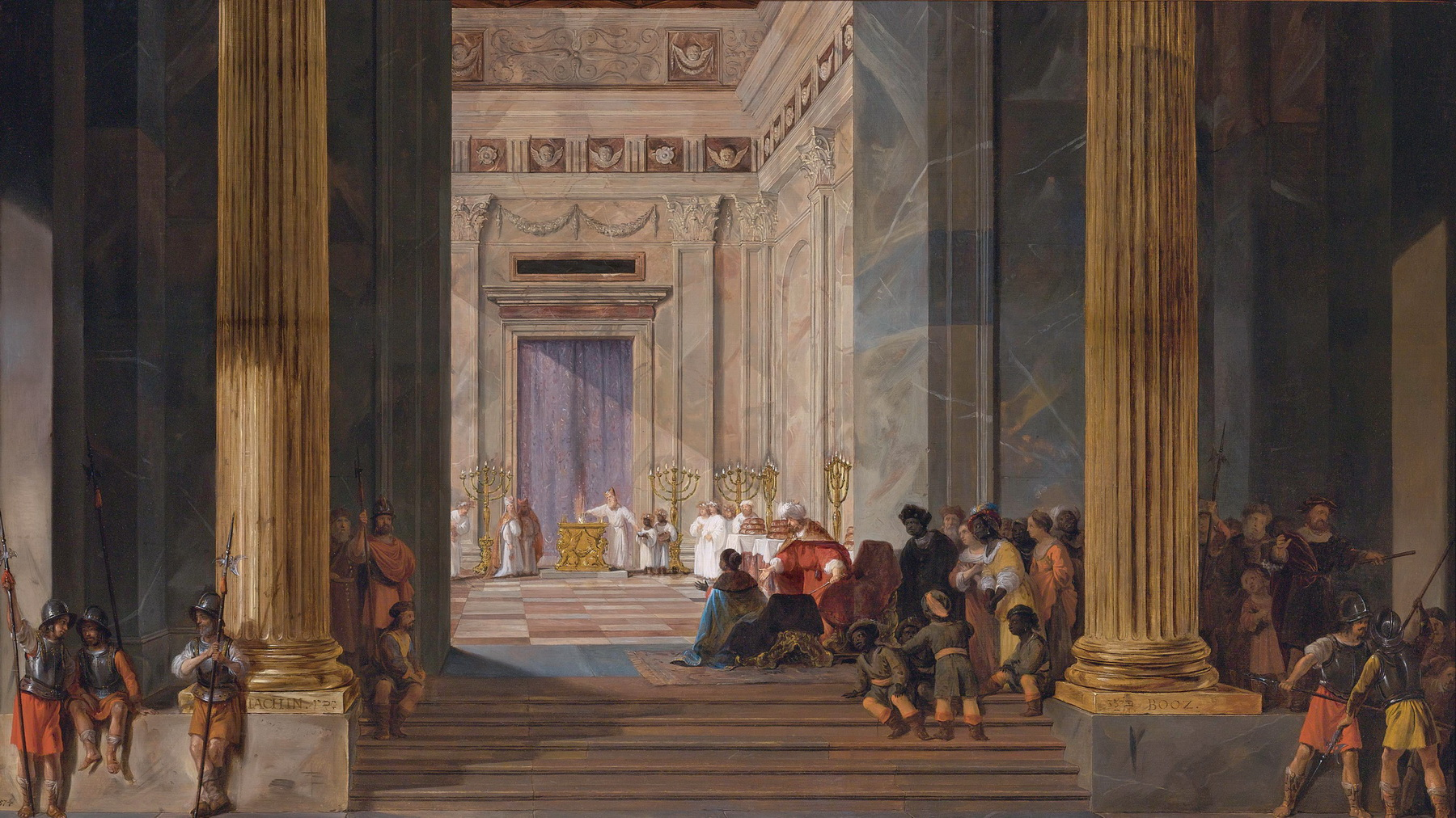 The Queen of Sheba before the temple of Solomon in Jerusalem by Salomon de Bray 1597-1664-1800