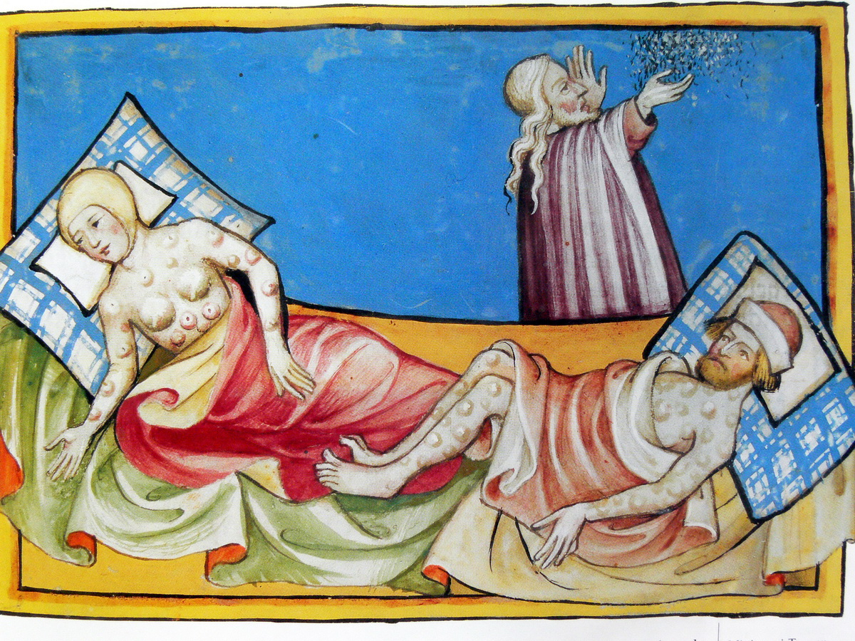 The Sixth Plague Miniature out of the Toggenburg Bible Switzerland of 1411-2
