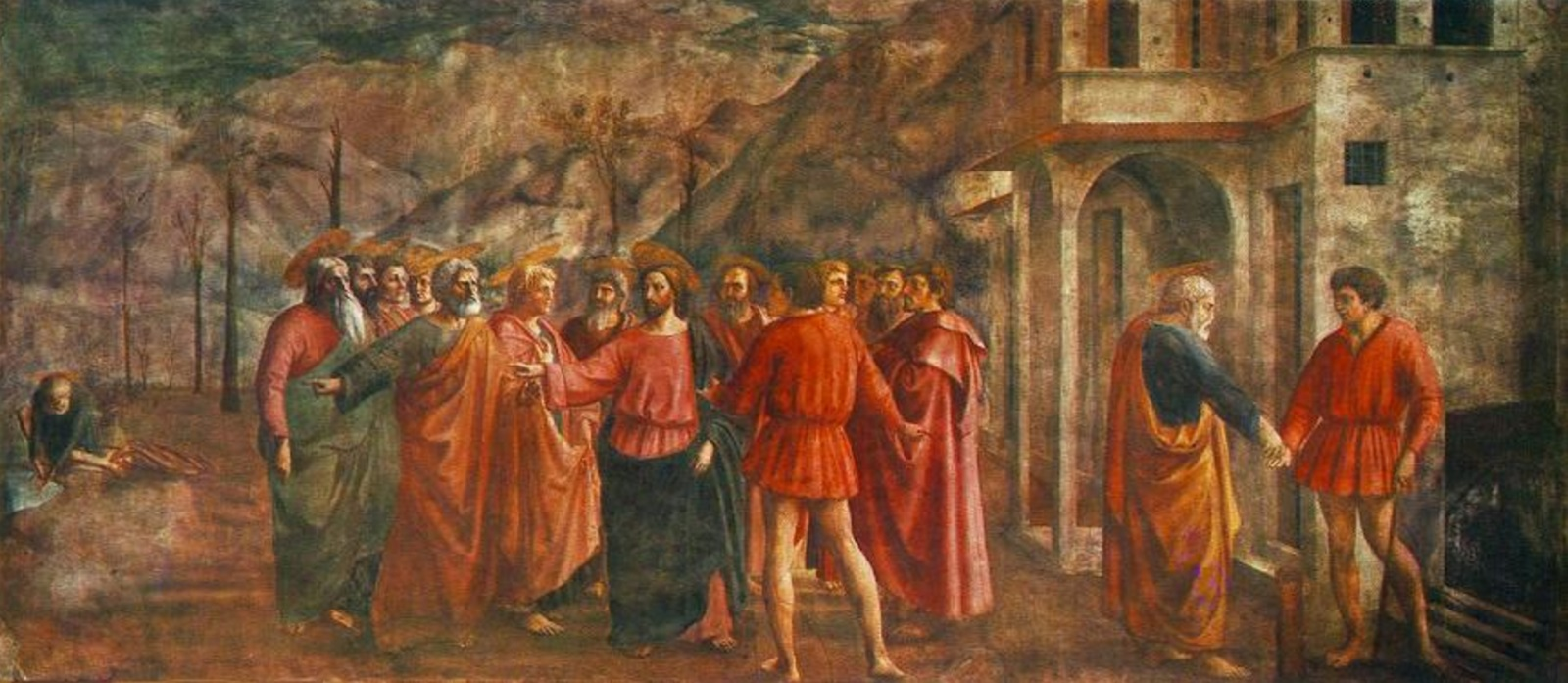 The Tribute Money fresco by Masaccio in the Brancacci Chapel