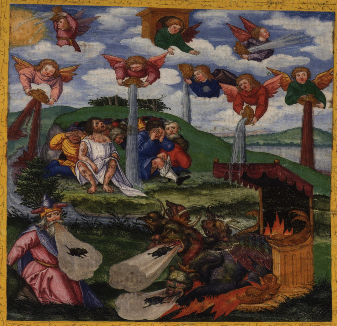 The seven bowls of wrath. Ottheinrich-bible c. 1531 AD-Ottheinrich Folio298r Rev16A-1400