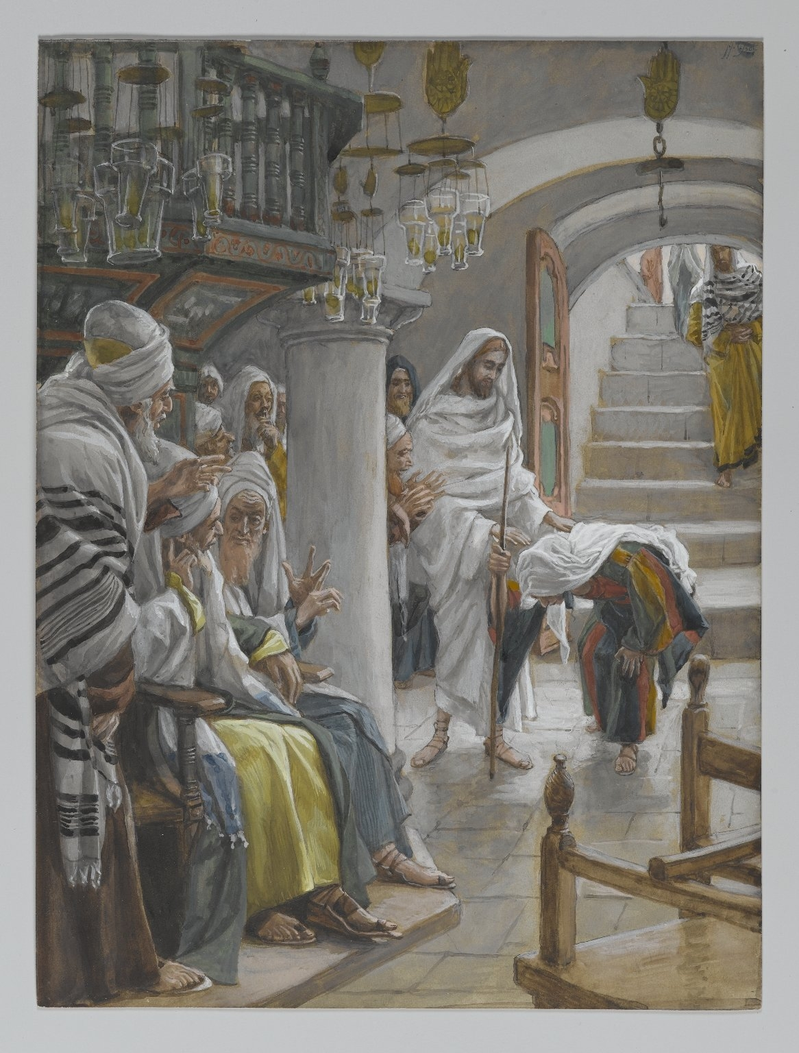 Tissot-Jesus Heals Woman with Spirit of Infirmity on the Sabbath