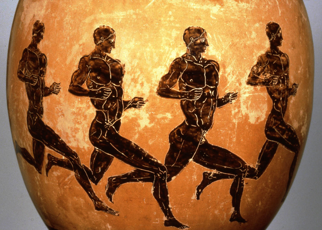 Vase painting of ancient Greek athletes on a long-distance run 320 B.C