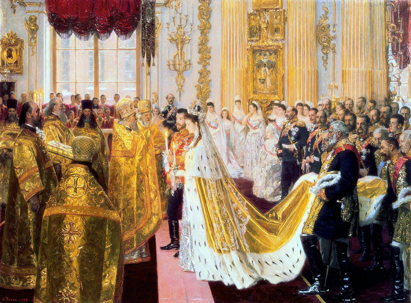 Wedding of Nicholas II and Alexandra Feodorovna by Laurits Tuxen 1895 Hermitage-1400