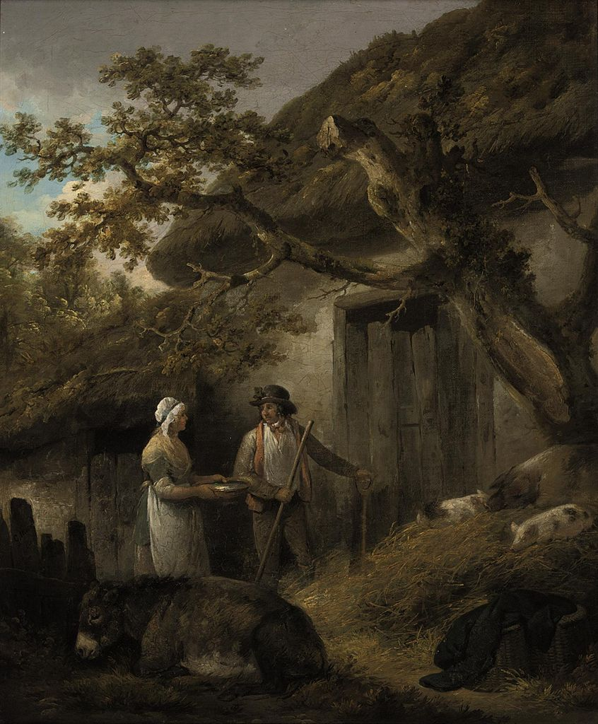 george charles morland a man and a woman outside a cottage with pigs