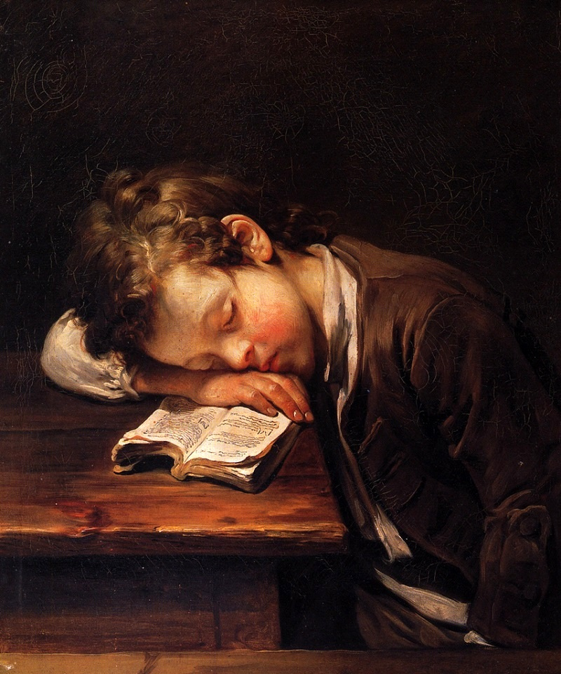 greuze jean baptiste- boy sleeping under the Bible