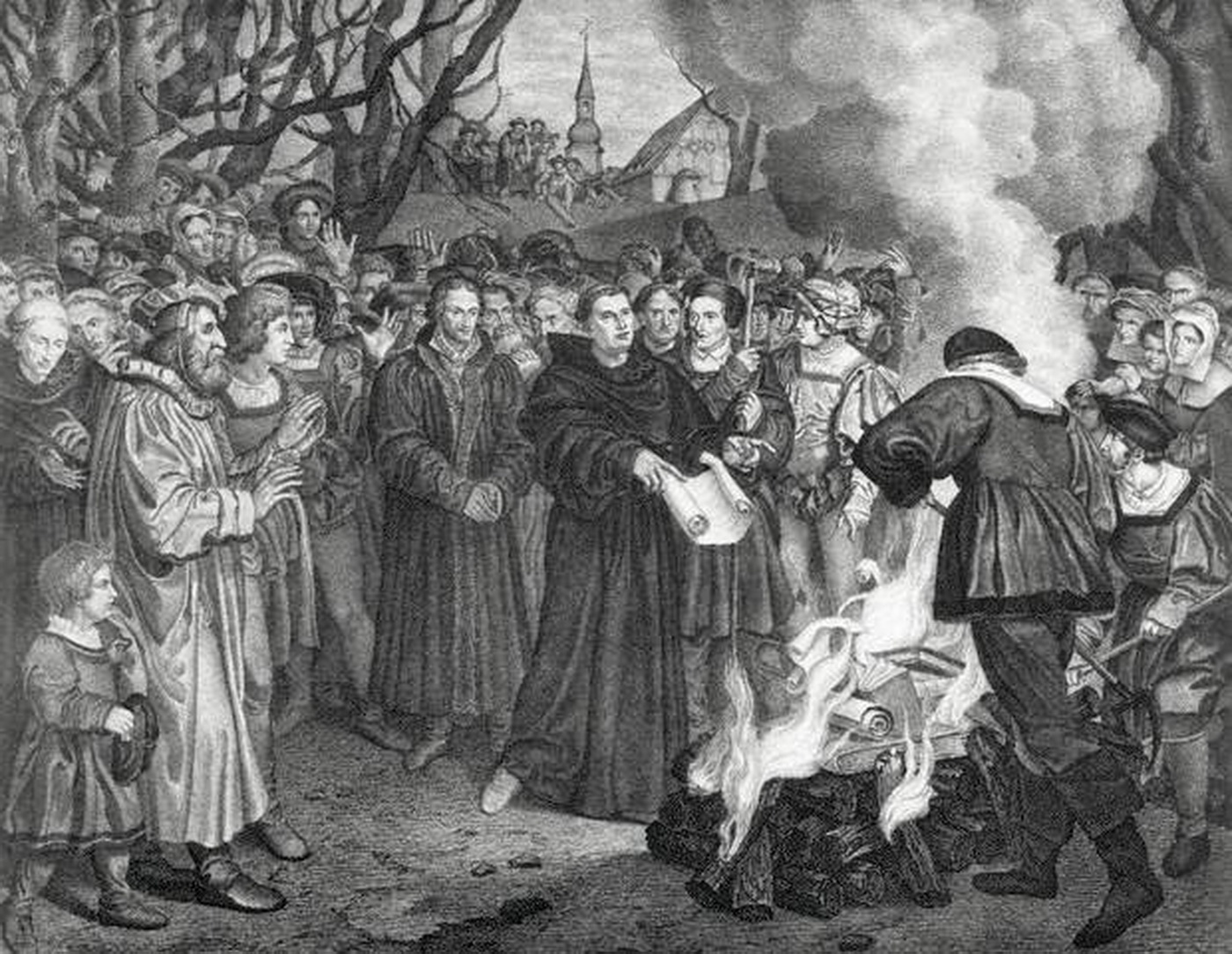 Martin Luther 1483-1546 burning the Papal Bull 1521