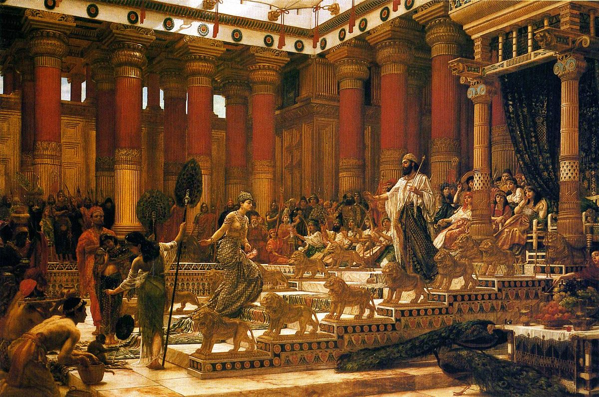 the visit of the queen of sheba to king solomon oil on canvas painting by edward poynter 1890