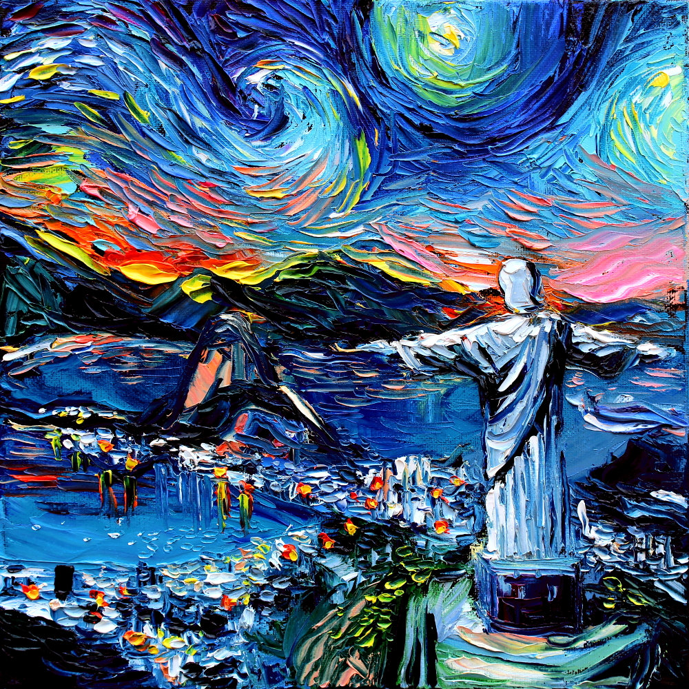 van Gogh Never Saw Christ The Redeemer - Starry Night - painting Art by Aja